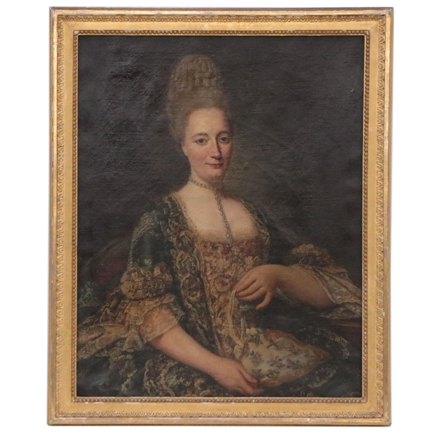 European School Oil Portrait of Lady, 19th Century