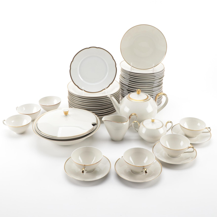 Mitterteich Bavaria and Hutschenreuther Plate Gilt Rimmed Porcelain Tableware