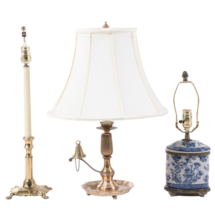 Candlestick Gilt Metal and Brass Table Lamps with Ceramic Tea Canister Lamp