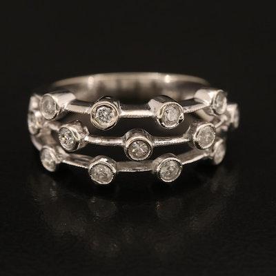 14K Bezel Set Diamond Multi-Row Ring