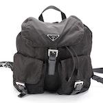 Prada Medium Black Tessuto Nylon Backpack with Leather Trim