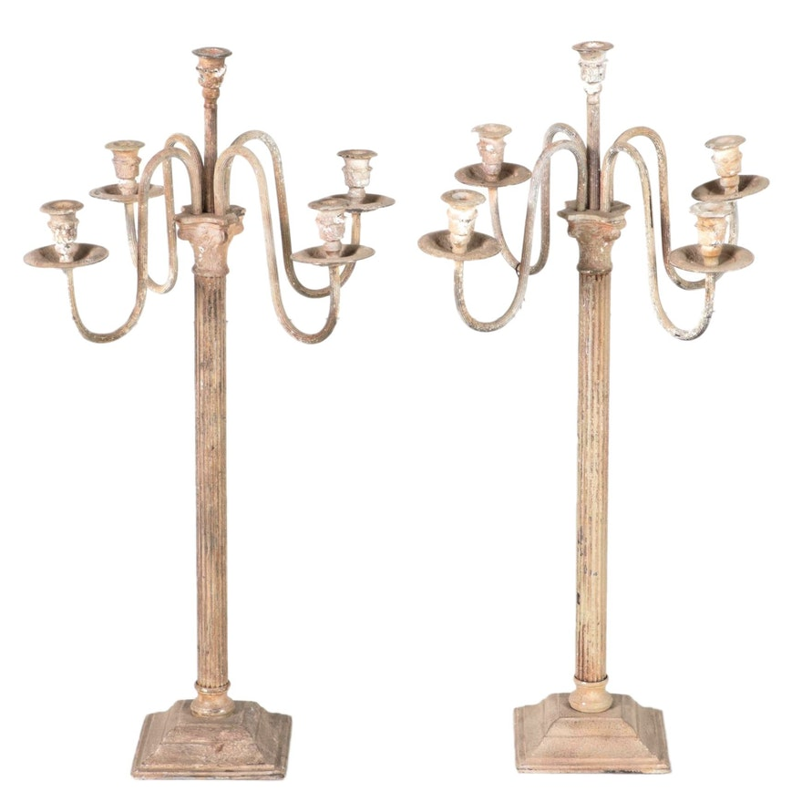Pair of Neoclassical Style Patinated Metal Five-Light Candelabras