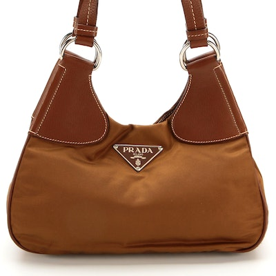 Prada Shoulder Bag in Tessuto Nylon with Contrast-Stitched Leather Trim