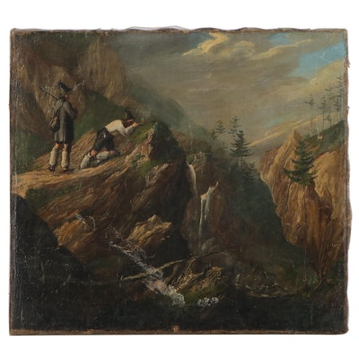 Oil Painting of Hunting Scene in Mountains, Late 19th Century