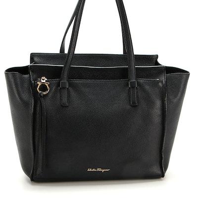 Salvatore Ferragamo Tote Bag in Black Pebbled Leather