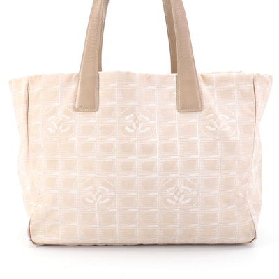 Chanel Travel Line CC Monogram Nylon and Taupe Leather Tote Bag