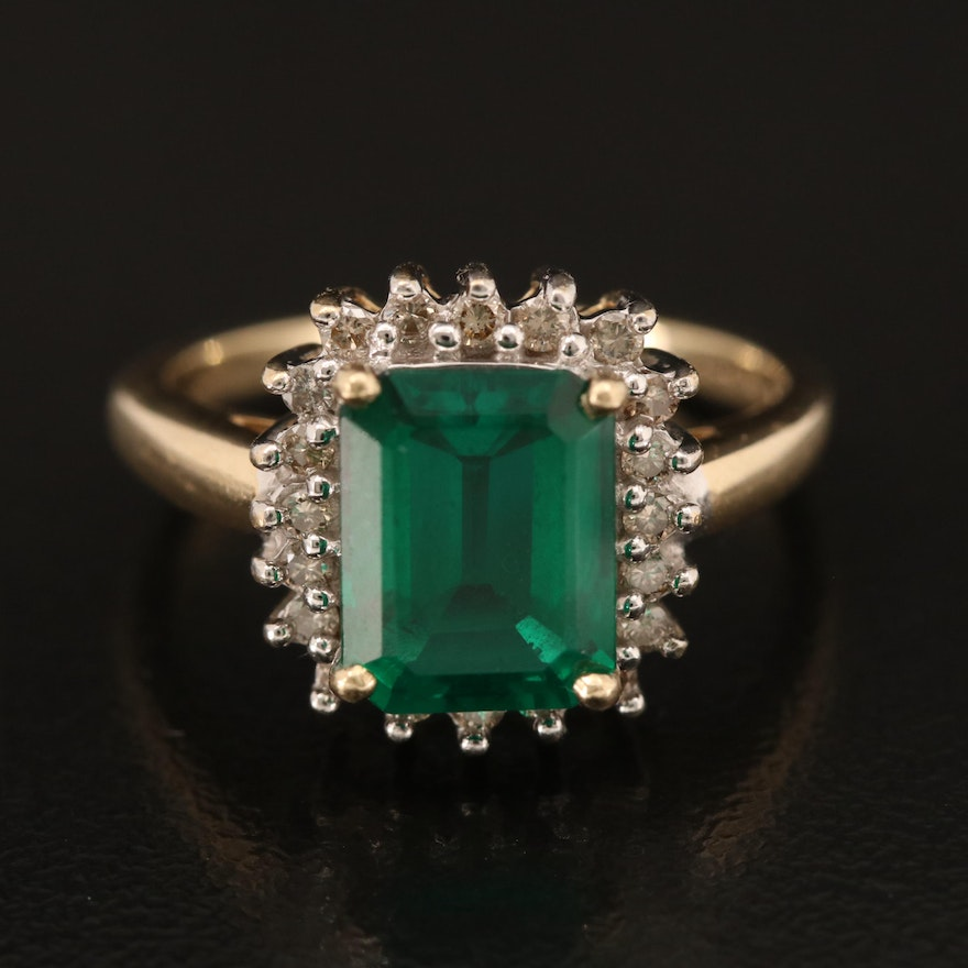 10K Emerald and Brown Diamond Ring