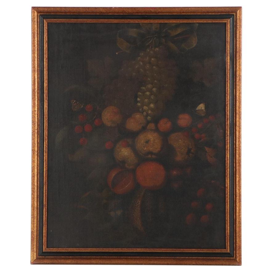 Flemish School Still Life Oil Painting With Fruit, Circa 1820