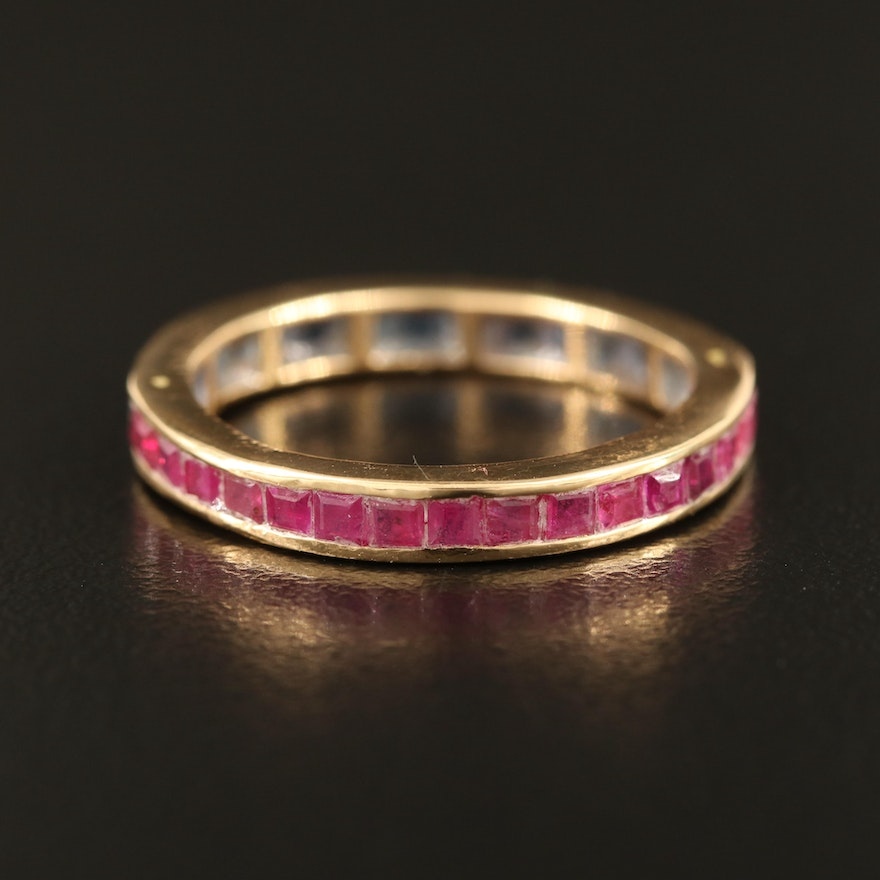 18K Ruby and Sapphire Eternity Band