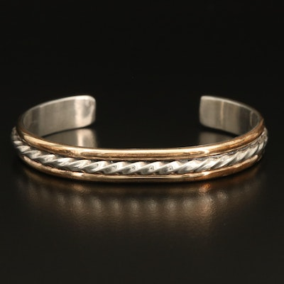 Leonard James Navajo Diné Sterling Twisted Wire Cuff