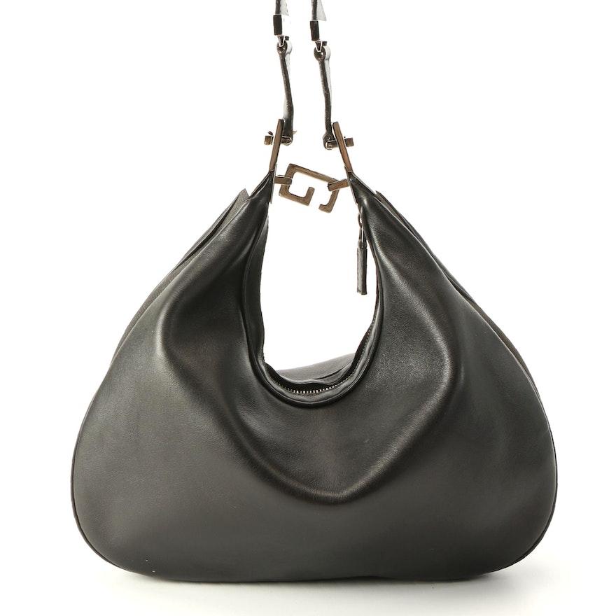 Gucci Black Leather and Textile Shoulder Bag
