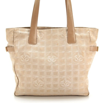 Chanel Travel Line Tote in Beige Nylon Jacquard and Smooth Leather