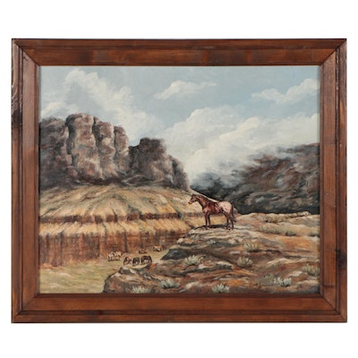 Bud Snidow Western Oil Painting of Wild Horses, Late 20th Century