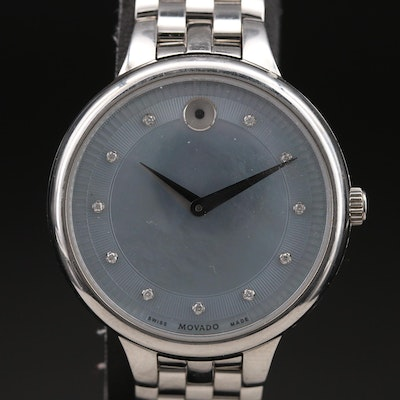 Stainless Steel Movado Mother of Pearl Diamond Dial Wristwatch
