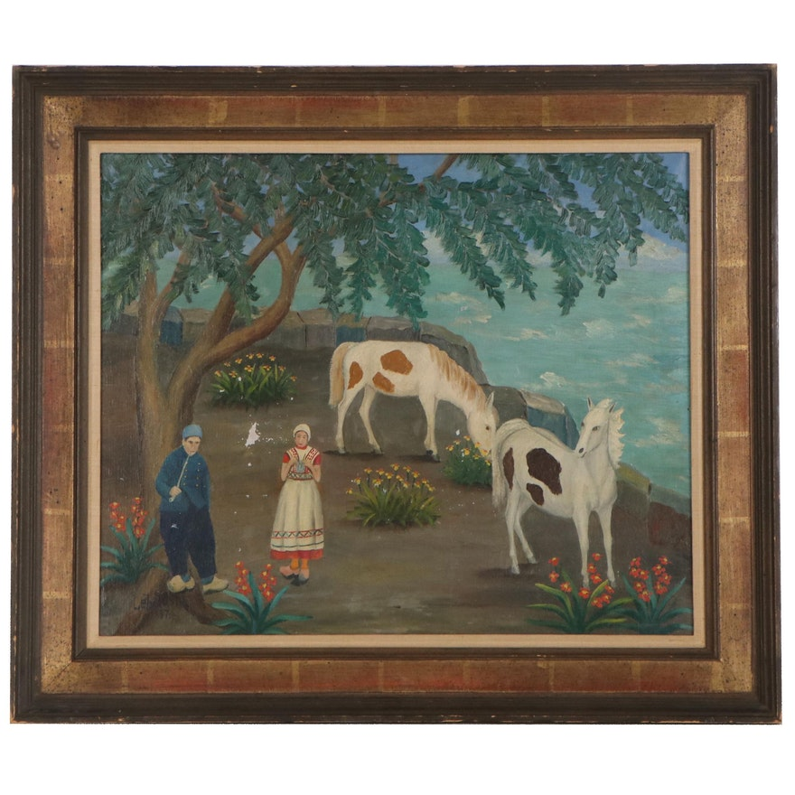 Lawrence Lebduska Folk Scene Oil Painting, 1937