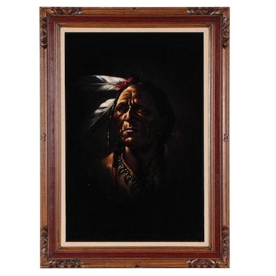 Oil Portrait on Velvet of Native American, Late 20th Century