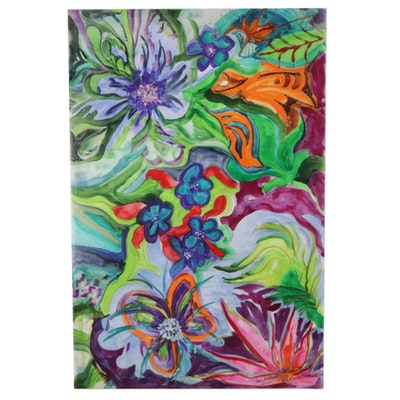 Phiris Sickels Collaborative Floral Watercolor and Gouache Painting