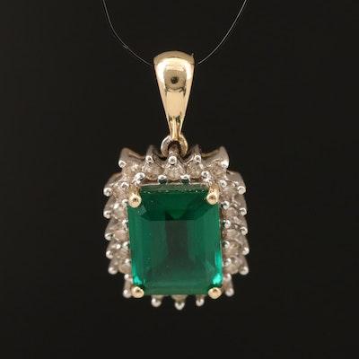 10K Emerald and Diamond Pendant