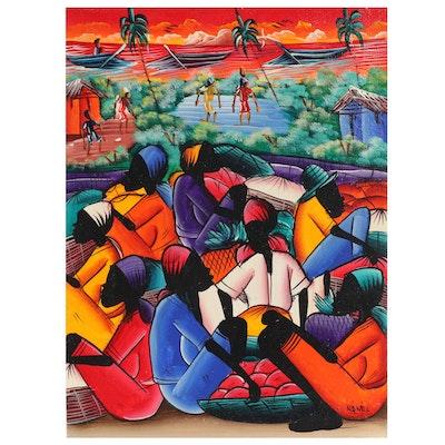 Nènèl Haitian Folk Art Acrylic Painting of Market Scene, Late 20th Century
