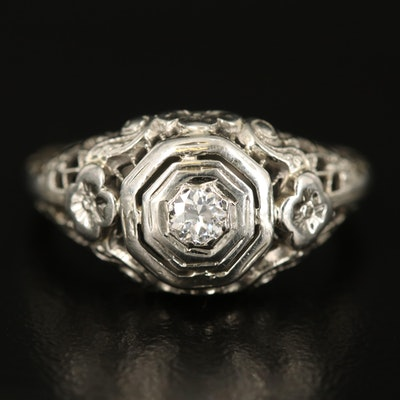 Edwardian 14K Diamond Openwork Ring