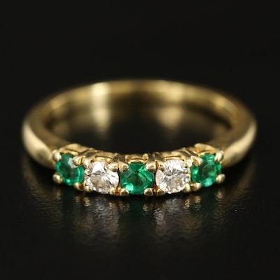 18K Emerald and Diamond Five Stone Band