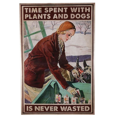 Woman Gardening With Dog Giclée Poster, 21st Century