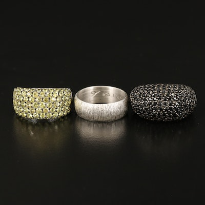 Pavé Spinel and Sapphire Rings with Textured Band