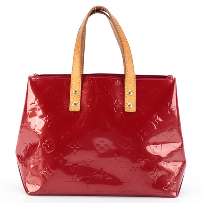 Louis Vuitton Reade PM Tote Bag in Red Monogram Vernis and Vachetta Leather