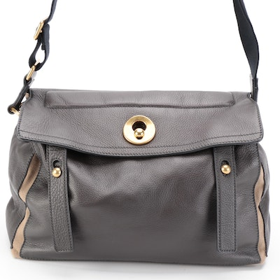 Yves Saint Laurent Muse Two Messenger Bag in Grey Leather and Canvas