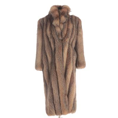 Crystal Fox Fur Full-Length Coat with Shawl Collar