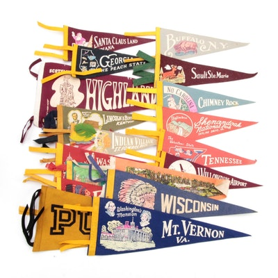 Cities, Landmarks, Colleges, and Other Souvenir Felt Pennants, 1950s
