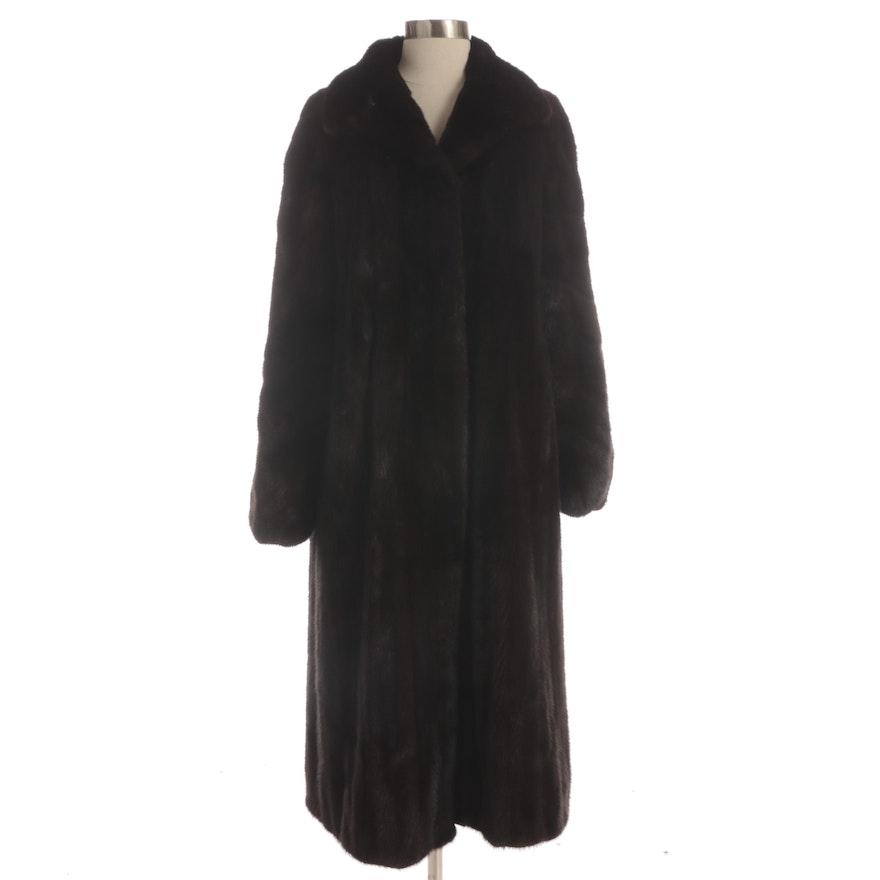 Mink Fur Coat with Shawl Collar and Elastic Cuffs