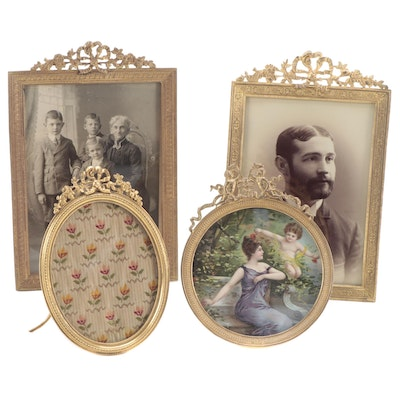French Gilt Metal Framed Silver Print Portraits, Chromolithograph, and Textile