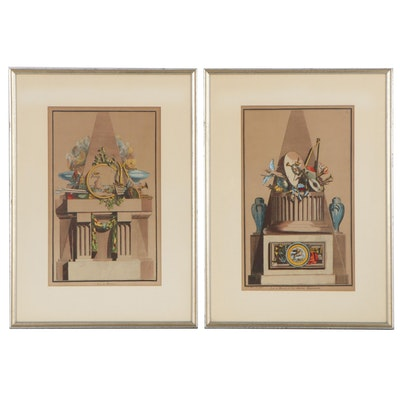 Hand-Colored Lithographs After Jean-Charles Delafosse Historical Iconology