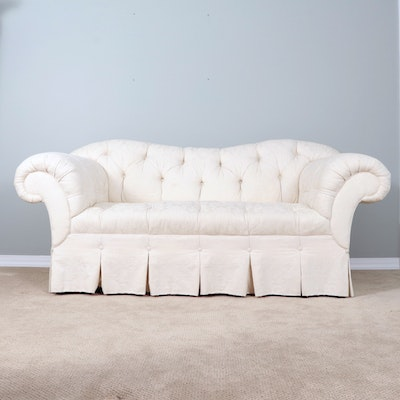 Baker Furniture Button-Tufted Sofa With Rolled Arms