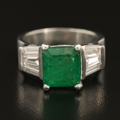 Platinum 3.61 CT Emerald and 1.27 CTW Diamond Ring with GIA Report