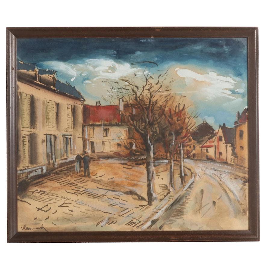 "Hand-Colored Lithograph After Maurice de Vlaminck ""The village, Landscape"""