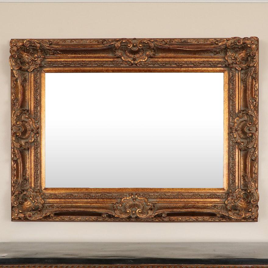 Baroque Style Rectangular Giltwood Wall Mirror