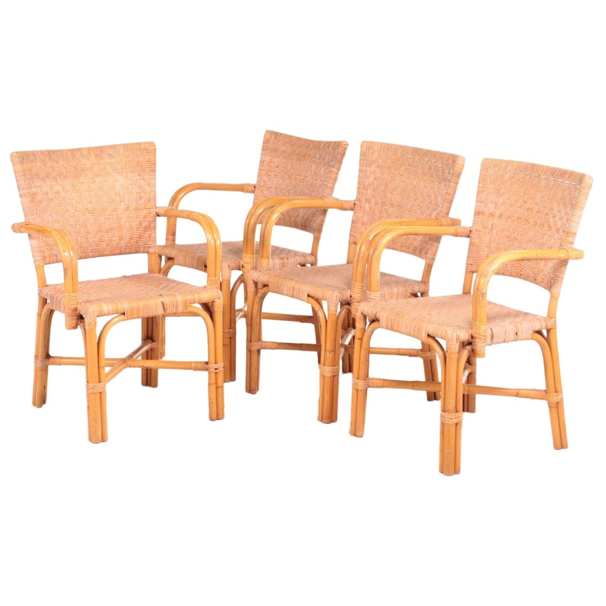 Set of Four Woven Rattan Armchairs