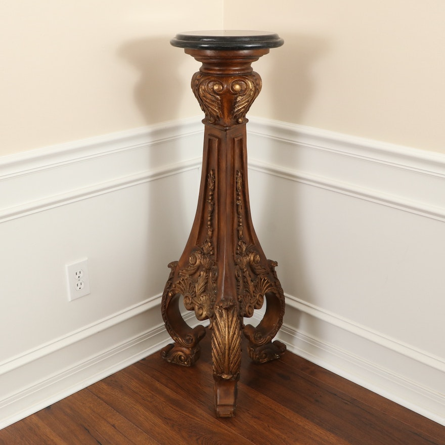 Louis XV Style Carved and Parcel-Gilt Wood Pedestal with Stone Top
