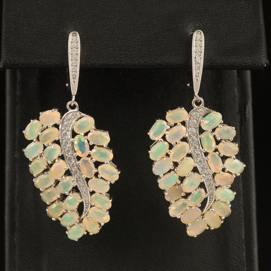 Sterling Opal and Cubic Zirconia Leaf Motif Earrings