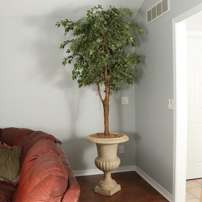 Concrete Urn Planter With Artificial Ficus Plant