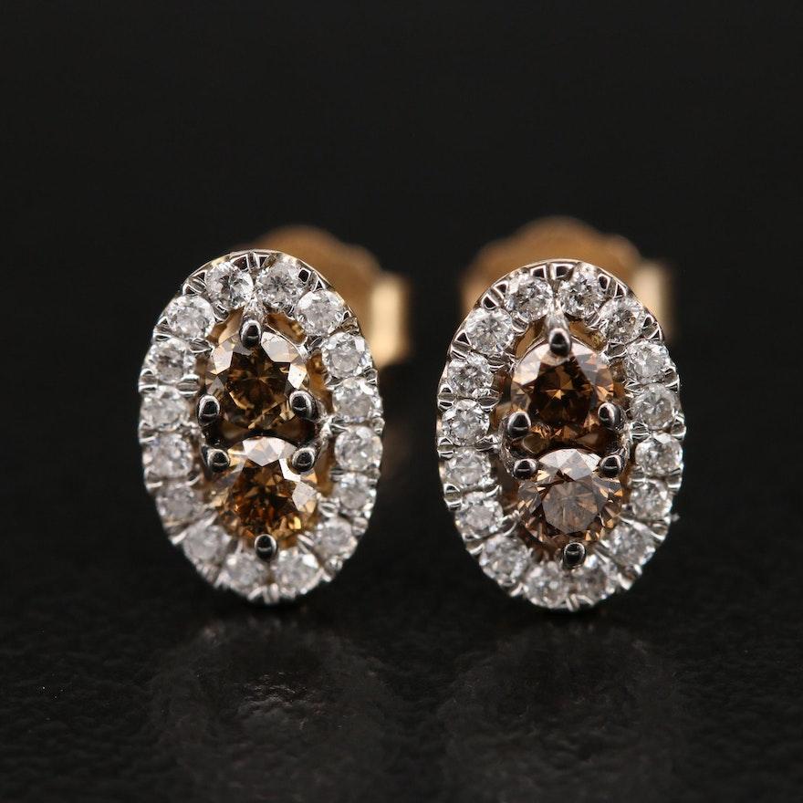 Kallati 9K Diamond Oval Stud Earrings