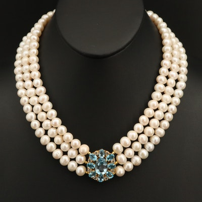 Sterling Triple Strand Pearl Necklace with Swiss Blue and White Topaz