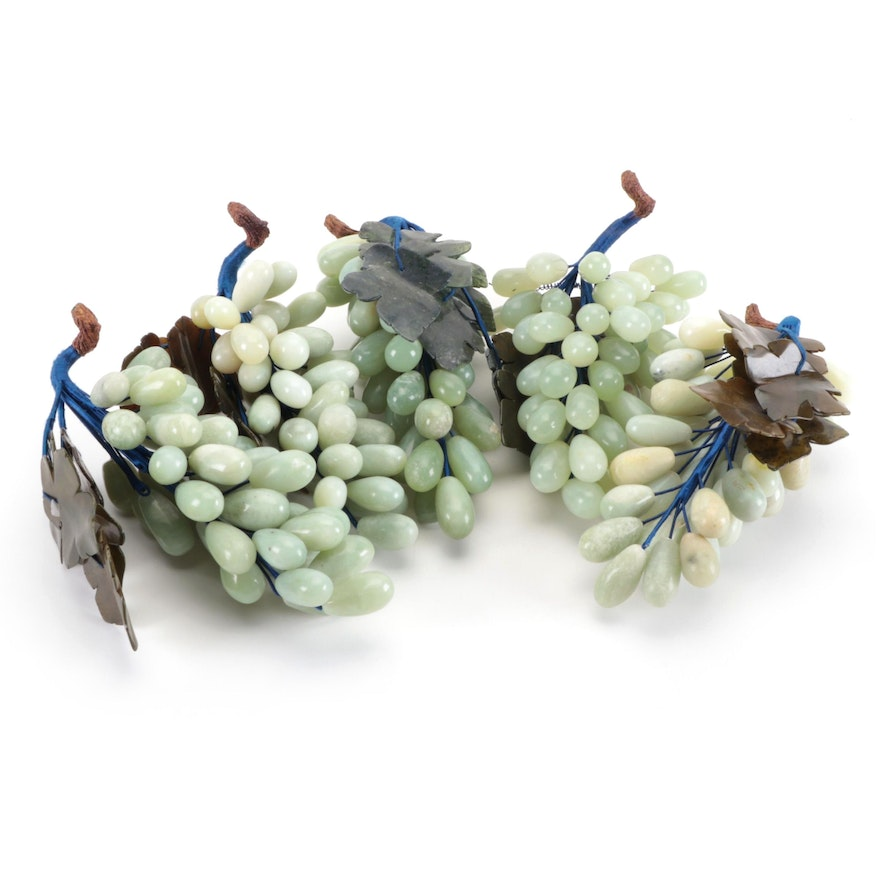 Chinese Carved Serpentine Grape Clusters on Vines