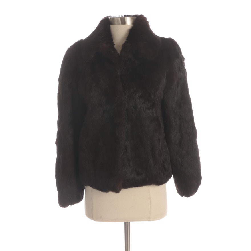 Dark Brown Dyed Rabbit Fur Jacket