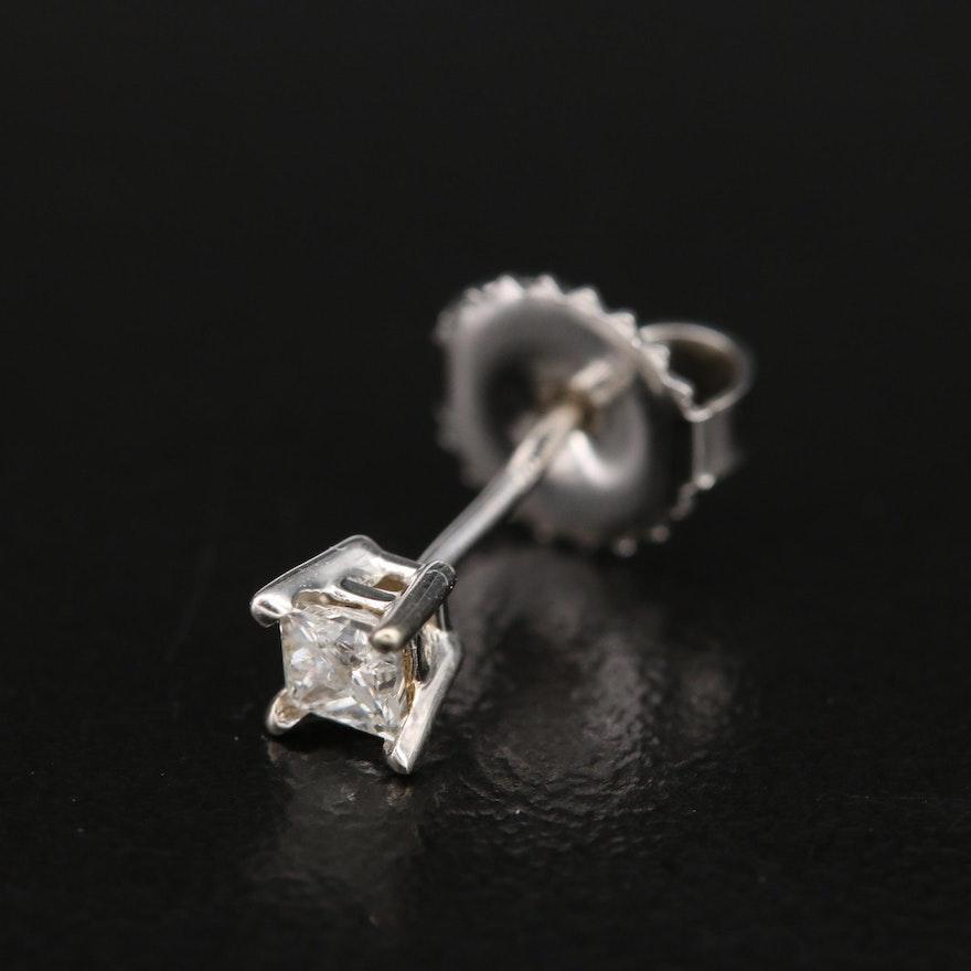 14K 0.14 CT Diamond Single Stud Earring
