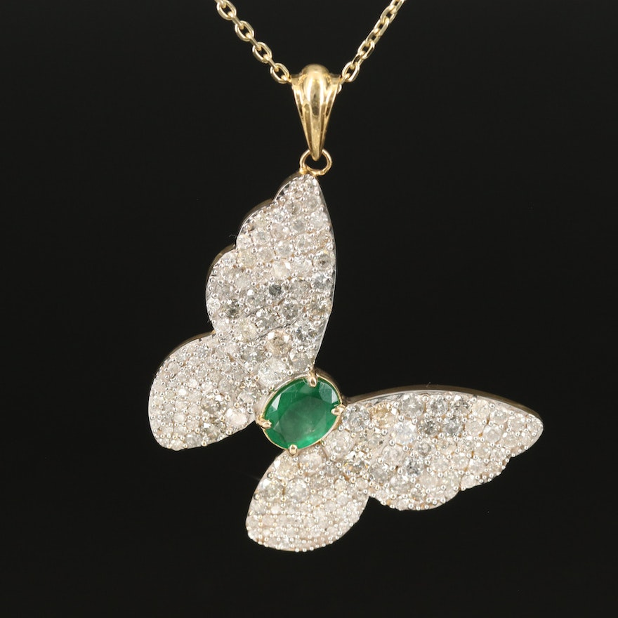 14K 1.60 CT Emerald and 5.94 CTW Diamond Butterfly Necklace