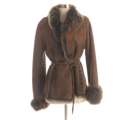 Rizal Shearling and Mouton Fur Suede Jacket with Scalloped Edge and Topstitching