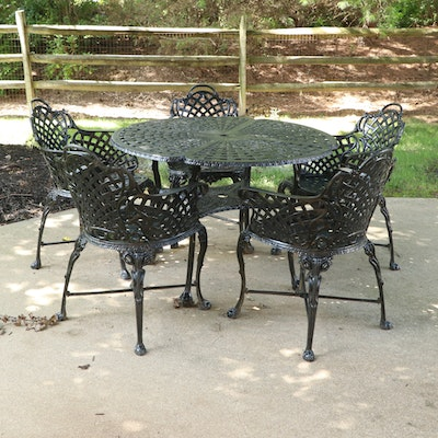 Black Painted Cast Iron Patio Table and Five Armchairs